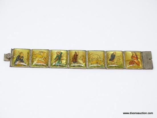 (SHOW) ORIENTAL PANELED BRACELET; 7 HAND PAINTED YELLOW STONE BRACELETS, EACH STONE HAS A DIFFERENT