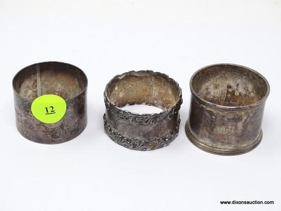 "(SHOW) STERLING NAPKIN RINGS; 3 STERLING SILVER NAPKIN RINGS OF DIFFERENT SIZES. ONE WITH ""FROM MRS."