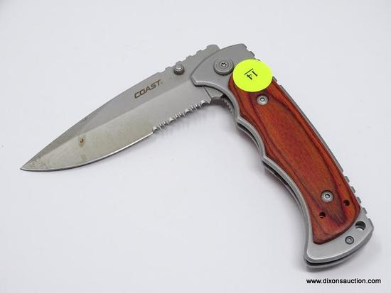 (SHOW) FOLDING KNIFE; COAST FX412 FRAME LOCK FOLDING KNIFE WITH A 4 IN BLADE.