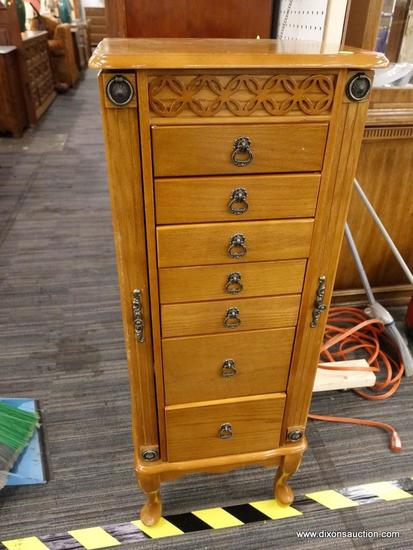 (R1) JEWELRY ARMOIRE; WOODEN QUEEN ANNE 7 DRAWER JEWELRY ARMOIRE WITH A LIFT TOP MIRROR AND 2