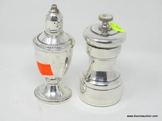 "(SHOW) STERLING SALT AND PEPPER SHAKER; 2 PIECE LOT OF STERLING TO INCLUDE A 4 IN TALL ""DUCHIN"