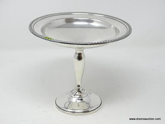 (SHOW) STERLING COMPOTE; STERLING 6 IN TALL COMPOTE REINFORCED WITH CEMENT.