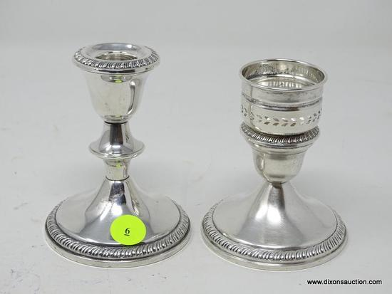 "(SHOW) LOT OF STERLING CANDLE HOLDERS; PAIR OF STERLING 4 IN TALL ""CROWN"" CANDLE HOLDERS, WEIGHTED."