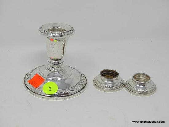 (SHOW) LOT OF STERLING CANDLE HOLDERS; 3 PIECE LOT OF STERLING CANDLE HOLDERS TO INCLUDE 2, .5 IN