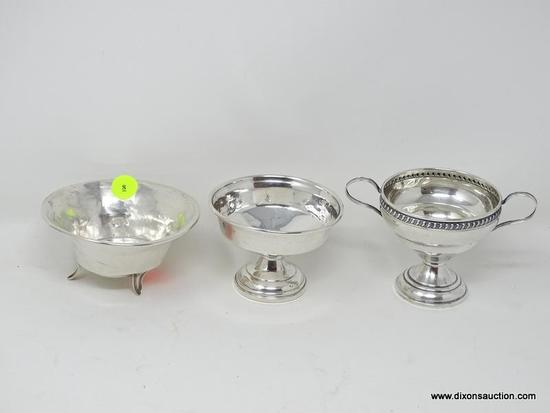 (SHOW) LOT OF STERLING BOWLS; 3 PIECE LOT OF STERLING TO INCLUDE A 3 IN TALL SUGAR BOWL REINFORCED