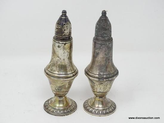 (SHOW) STERLING SALT AND PEPPER SHAKER; PAIR OF MATCHING, WEIGHTED AMC STERLING SALT AND PEPPER