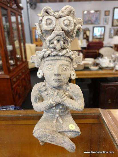 (R1) AZTEC POTTERY ART FLOWER POT; AZTEC STATUE WITH A HOLE FOR FLOWER ON THE BACK OF HIS HEAD. HAS