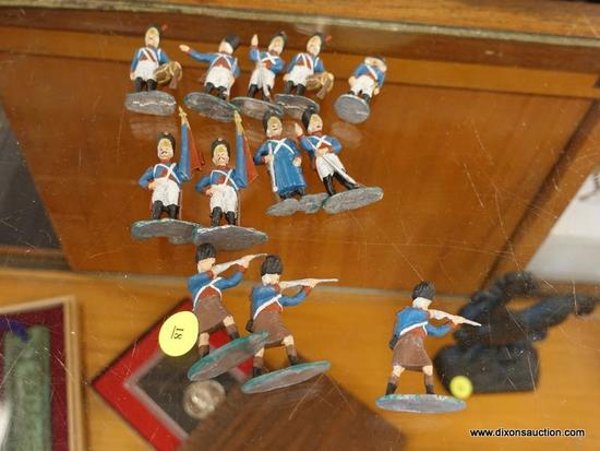 (R1) ARMY MEN FIGURINES; 12 PIECE LOT OF METAL BRITISH ARMY MEN FIGURINES. HAND PAINTED.