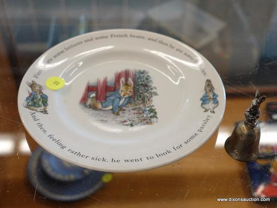 (R1) LOT OF PETER RABBIT PLATE AND BELL; 2 PIECE LOT TO INCLUDE A PETER RABBIT PLATE WITH QUOTES
