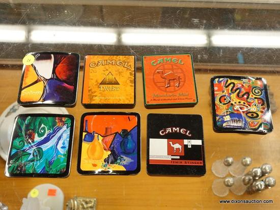 (R1) DECORATIVE CIGARETTE TINS; 7 PIECE LOT OF CIGARETTE TINS TO INCLUDE 4 SALEMS TINS AND 3 CAMEL