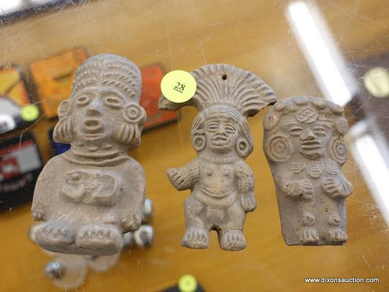 (R1) SMALL TRIBAL STATUES; CLAY TRIBAL FIGURINES OF THE SUN AND MOON GODS.