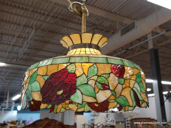 STAINED GLASS CHANDELIER; ORANGE, GREEN, AND RED FLORAL PATTERN CHANDELIER IN EXCELLENT CONDITION.