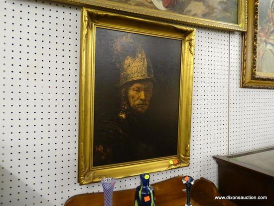 (WALL) CONQUISTADOR PRINT ON BOARD; PORTRAIT OF A SPANISH CONQUISTADOR. IS IN A GOLD TONED FRAME AND