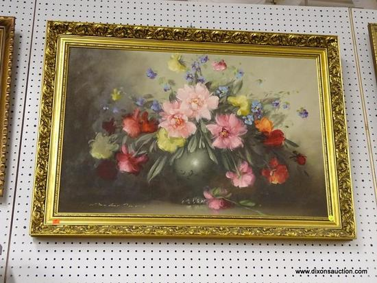 (WALL) PAINT ON CANVAS; STILL LIFE OF PINK, YELLOW, RED, AND ORANGE FLOWERS SITTING IN A VASE.