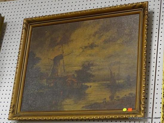(WALL) PAINTING ON BOARD; ANTIQUE PAINTING ON BOARD OF A WATERMILL ON A RIVER WITH A SAILBOAT ON THE