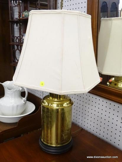 (R1) TABLE LAMP; BRASS TABLE LAMP ON A WOODEN STAND WITH FLOWERS AND BIRDS ETCHED INTO THE LAMP.
