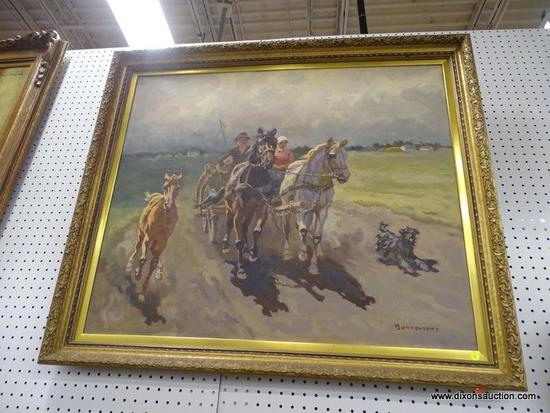 (WALL) WESTERN STYLE OIL ON CANVAS; DEPICTS A COUPLE RIDING IN A CARRIAGE WITH THEIR DOG AND HORSE