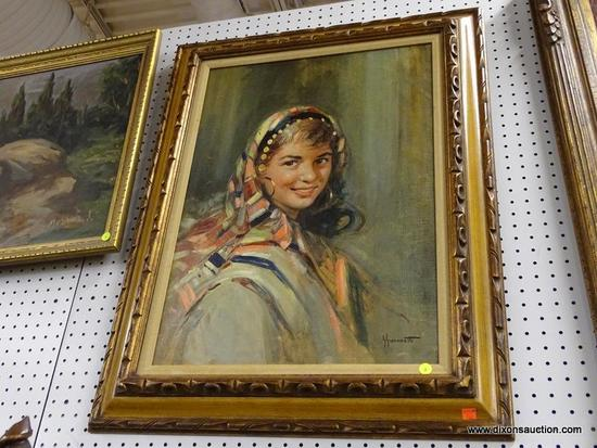 (WALL) OIL ON CANVAS; DEPICTS A YOUNG LADY WITH HOOP EARRINGS AND A FULL HEAD SCARF. IS IN A VARIETY