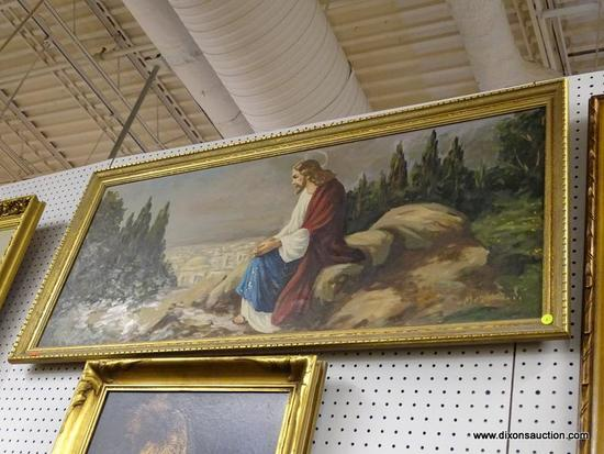 (WALL) OIL ON CANVAS OF JESUS; SHOWS JESUS SITTING ON A ROCK, POSSIBLY OUTSIDE OF BETHLEHEM,