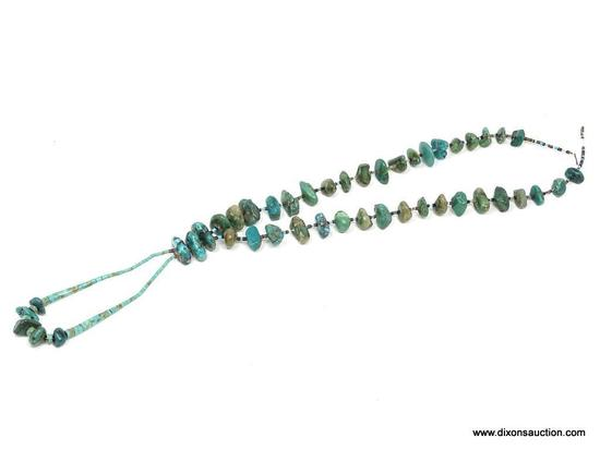 TURQUOISE AND SHELL NECKLACE; 29 IN LONG NECKLACE WITH LARGE STONES AND AN ADDITIONAL 6 IN LONG
