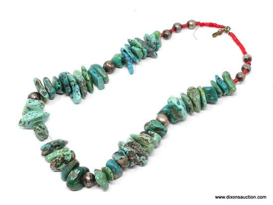 TURQUOISE NECKLACE; MEDIUM STONE TURQUOISE NECKLACE WITH RED BEAD DETAILING AND ROUND SILVER TONE