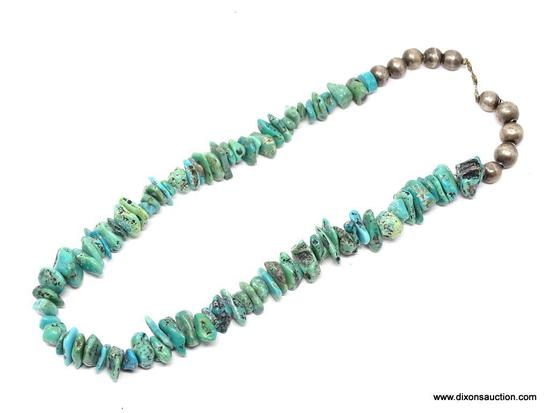 TURQUOISE NECKLACE; MEDIUM STONE TURQUOISE NECKLACE WITH ROUND SILVER TONE BEADS. HAS A HOOK