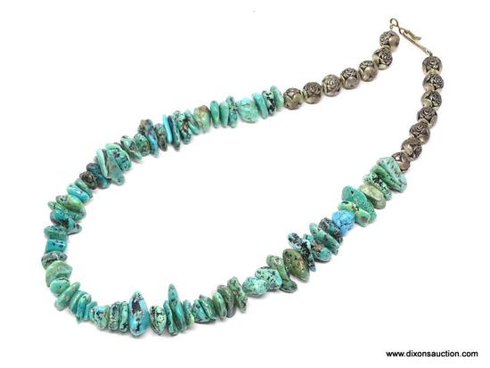 TURQUOISE NECKLACE; MEDIUM STONE TURQUOISE NECKLACE WITH ROUND SILVER TONE ROSE BEADS. HAS A HOOK