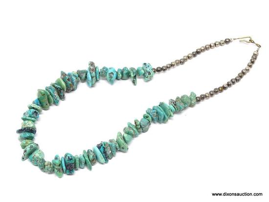 TURQUOISE NECKLACE; SMALL STONE TURQUOISE NECKLACE WITH ROUND SILVER TONE BEADS. HAS A HOOK CLOSURE.
