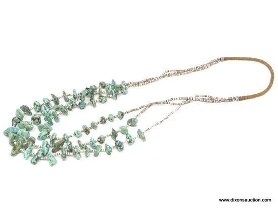 TRIPLE STRAND TURQUOISE NECKLACE; SMALL/MEDIUM TURQUOISE STONES SEPARATED BY WHITE AND BROWN PUKA