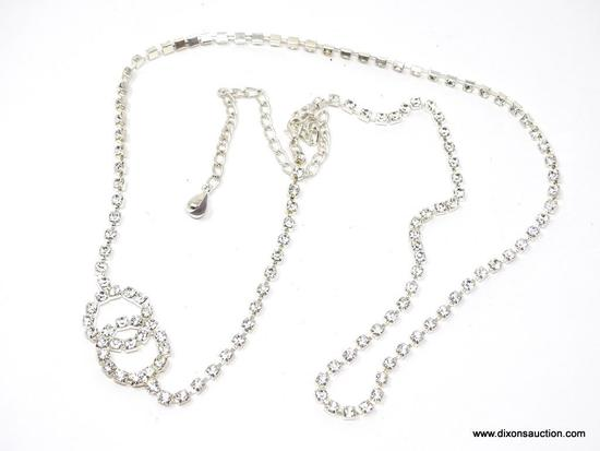 RHINESTONE BELT/NECKLACE; BEAUTIFUL 42 IN LONG RHINESTONE BELT OR NECKLACE WITH INTERTWINED CIRCLE