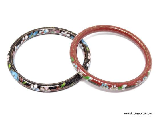 PAIR OF CLOISONNE BRACELETS; INCLUDES A BROWN AND A BLACK PINK AND BLUE FLORAL CLOISONNE BANGLE