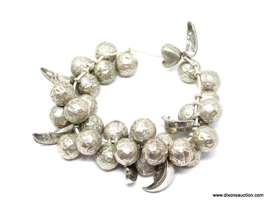CELESTIAL PEWTER BRACELET; LARGE ROUND PEWTER BEADS WITH CRESCENT MOONS HANGING BETWEEN THE BEADS.