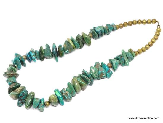 TURQUOISE NECKLACE; HEAVY LARGE STONE TURQUOISE NECKLACE WITH HOOK CLOSURE. 22 IN LONG.