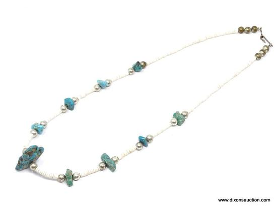 TURQUOISE AND PUKA SHELL NECKLACE; SMALL TURQUOISE STONES SEPARATED BY SMALL PUKA SHELLS AND SILVER