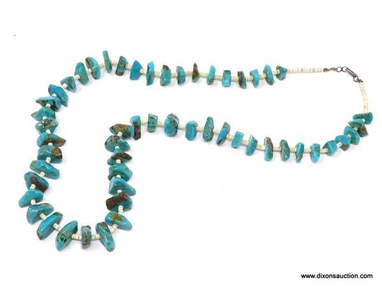 TURQUOISE AND PUKA SHELL NECKLACE; MEDIUM SIZE TURQUOISE STONES SEPARATED BY SMALL PUKA SHELLS. HAS