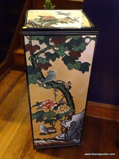 (LR) ORIENTAL PEDESTAL; BLACK LACQUER CARVED AND PAINTED PEDESTAL WITH BIRDS AND FLOWERS- 14 IN X 14