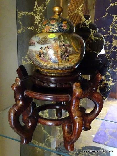 (LR) GINGER JAR AND STAND; ORIENTAL GINGER JAR ON ROSEWOOD STAND- JAR- 9 IN H- STAND- 8 IN H