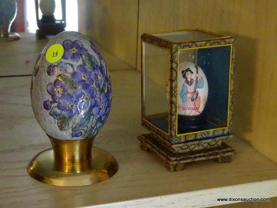 (LR) HAND PAINTED EGGS; 2 HAND PAINTED ORIENTAL EGGS- ONE HAS A HAND PAINTED GIRL PLAYING A MUSICAL