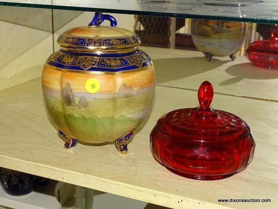 (LR) 2 MISCELL. CONTAINERS; ANTIQUE HAND PAINTED NIPPON BISCUIT JAR ( CHIP ON INTERIOR RIM)- 7 IN H