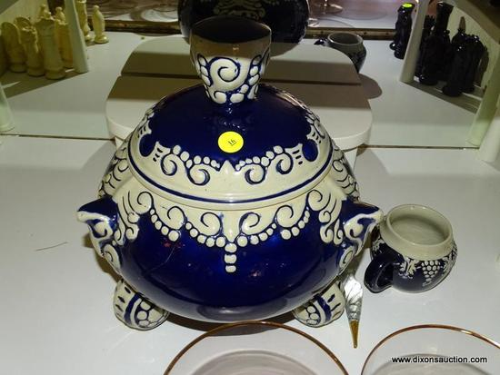 (LR) 6 PC. PUNCH SET; 6 PC STONEWARE GERMAN PUNCH SET- 5 CUPS AND THE PUNCH BOWL- BOWL WITH LID- 13