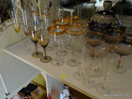 (LR) SHELF LOT OF STEMWARE; LOT CONTAINS 4 ETCHED COLORED MATCHING CHAMPAGNE FLUTES, 5 AMETHYST AND