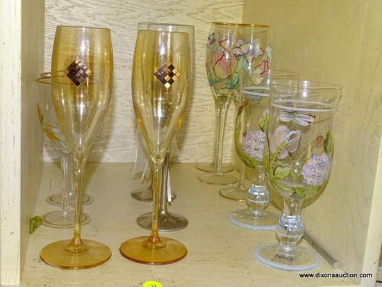 (LR) SHELF LOT OF STEMWARE; LOT CONTAINS HAND PAINTED CHAMPAGNE AND WATER GLASSES BY ZRIKE AND
