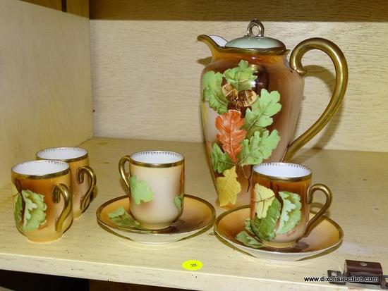 (LR) ANTIQUE TEA SET; ANTIQUE HAND PAINTED ROYAL AUSTRIA TEA SET- TEAPOT-9 IN H AND 4 DEMITASSE CUPS