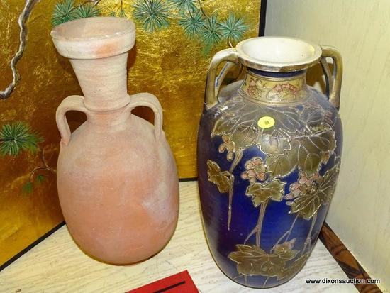 (LR) 2 LARGE VASES- TERRACOTTA VASE- 17 IN H AND AN ANTIQUE SATSUMA VASE WITH REPAIR- 15 IN H