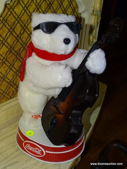 (LR) COCA COLA BEAR; COCA COLA MUSICAL BEAR PLAYING A CELLO- 14 IN H
