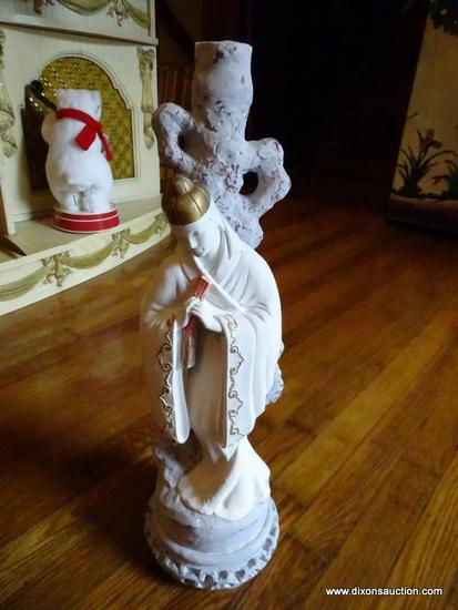 (LR) STATUE; CAST PLASTER STATUE OF ORIENTAL PRIEST (SHOWS REPAIR TO BASE)- 22 IN H
