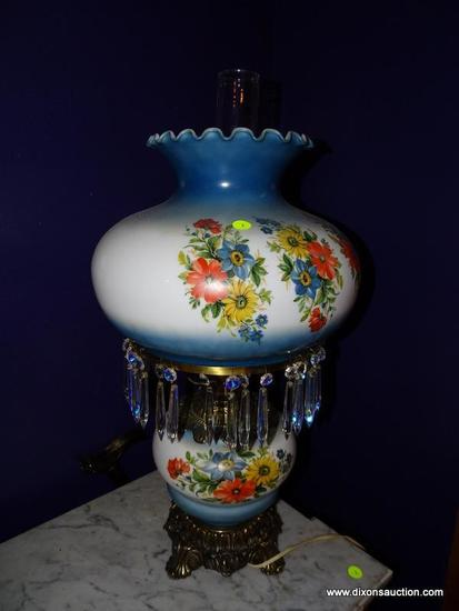 (LR) LAMP; GONE WITH THE WIND STYLE LAMP WITH FLORAL BASE AND MATCHING SHADE WITH PRISMS- 13 IN DIA.