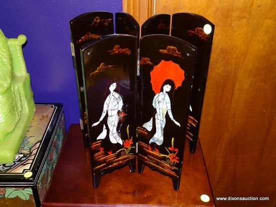 (LR) FOLDING TABLE SCREENS; 2 BLACK LACQUER AND SHELL INLAID FOLDING TABLE SCREENS WITH PAINTED