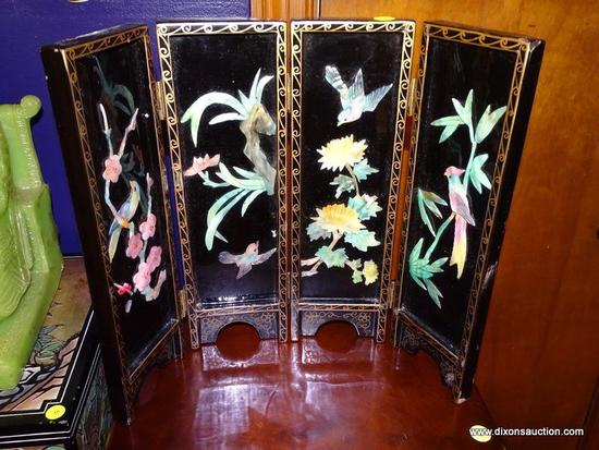(LR) FOLDING TABLE SCREEN; BLACK LACQUER AND CARVED HARDSTONE FOLDING TABLE SCREEN WITH HARDSTONE