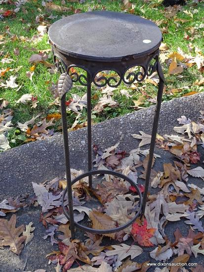 (GARAGE-OUT) PLANT STAND- DECORATIVE METAL PLANT STAND- 11 IN X 28 IN
